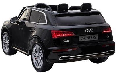 Accu Auto Audi Q5 Zwart Metallic MP4 TV-Scherm 4X4 2 Persoons Rubber Banden-2