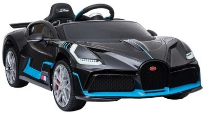 Accu Auto Bugatti Divo 12V Zwart Metallic 2,4G Lederen Stoel Rubber banden