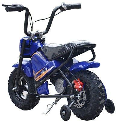 Mini Scooter Monkey Blauw 24V 250Watt Afneembare Zijwieltjes-2