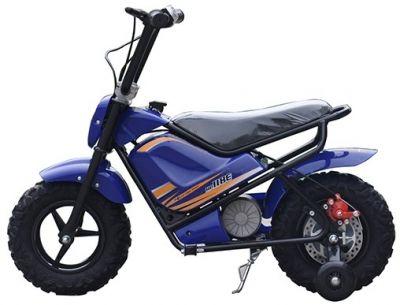Mini Scooter Monkey Blauw 24V 250Watt Afneembare Zijwieltjes-1