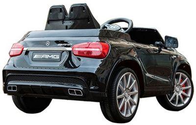 Accu Auto Mercedes GLA45 AMG Zwart Metallic 12V 2,4G Lederen Stoel Rubber Banden-1