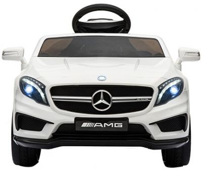 Accu Auto Mercedes GLA45 AMG Wit 12V 2,4G Lederen Stoel Rubber Banden
