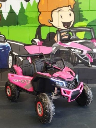 Accu Auto Mega Buggy 4X4 24V 2 Persoons Roze MP4 Rubber Band-1
