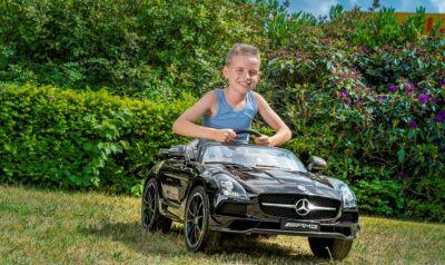 Accu Auto Mercedes SLS AMG Zwart Metallic 12V MP4-TV Rubber Banden-7