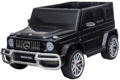 Accu Auto MERCEDES G63-AMG 4X4 Zwart Metallic 2 Persoons Rubber Banden
