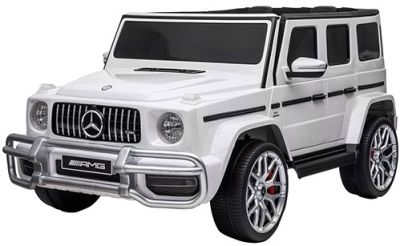 Accu Auto MERCEDES G63-AMG 4X4 Wit 2 Persoons Rubber Banden