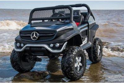Accu Auto Mercedes Unimog 4X4 MP4-TV Mat Zwart 2 Persoons Rubber Banden
