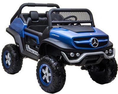 Accu Auto Mercedes Unimog 4X4 MP4-TV Blauw Metallic 2 Persoons Rubber Banden