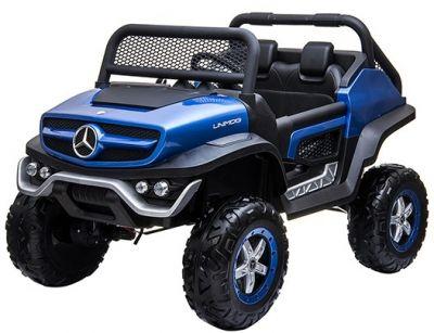 Accu Auto Mercedes Unimog 4X4 MP4-TV Blauw Metallic 2 Persoons Rubber Banden-1