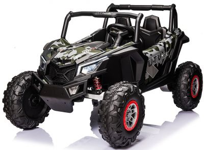 Accu Auto Mega Buggy 4X4 24V 2 Persoons Camouflage MP4 Rubber Banden