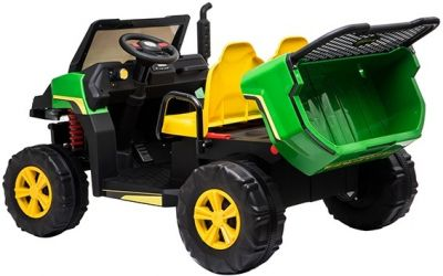 Accu Auto Truggy 4X4 Groen-Geel 12V 2-persoons Rubber Banden-5