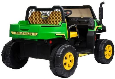 Accu Auto Truggy 4X4 Groen-Geel 12V 2-persoons Rubber Banden-2