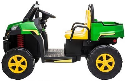 Accu Auto Truggy 4X4 Groen-Geel 12V 2-persoons Rubber Banden-1