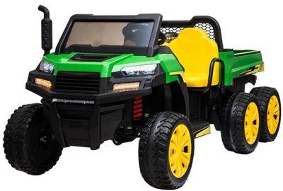 Accu Auto Truggy XL 4X6 Groen-Geel 12V 2-persoons Rubber Banden